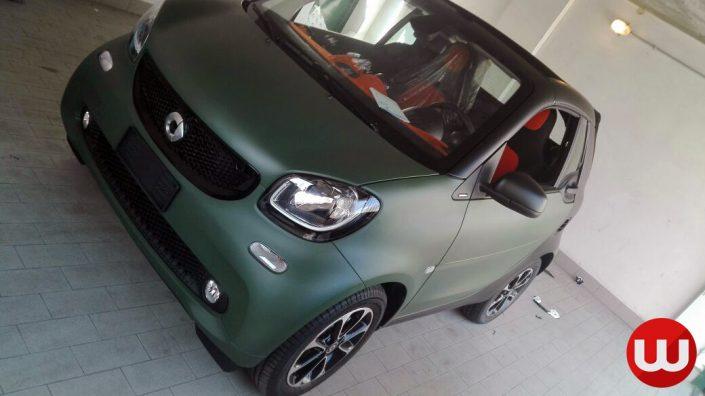 Smart Cabriolet 2017 wrapping verde militare opaco e nero opaco